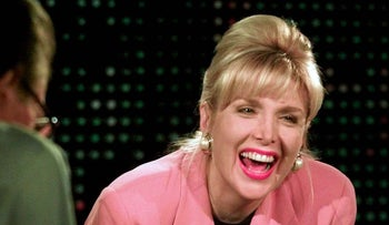 "Gennifer Flowers laughs during taping of ""Larry King Live"" Friday, Jan. 23, 1998, at CNN studios in Los Angeles."