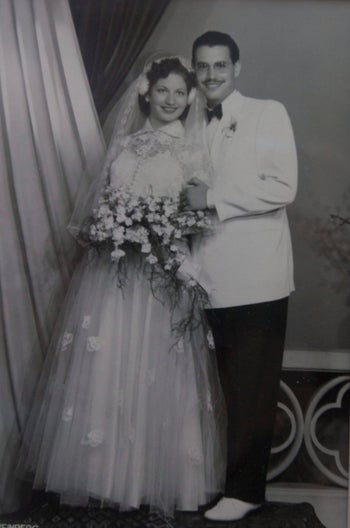 Dorit Hakim's parents on their wedding day in Cairo, 1954. Her mother died in 1971, a few hours after giving birth to Dorit.
