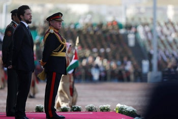 Jordan's King Abdullah II, right, with his son Crown Prince Hussein, during celebration of the 100-year anniversary of the Great Arab Revolt, in Amman, Jordan, June 2, 2016.