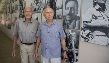 Shaike Gavish,the former Southern Command chief, left, and former Mossad chief Zvi Zamir at the Palmach Museum.