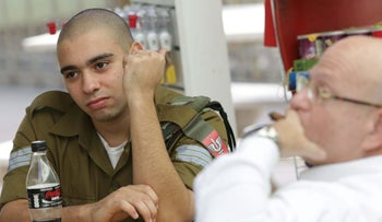 IDF Sgt. Elor Azaria during his trial in the Jaffa Military Court, Sept. 25, 2016.