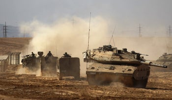 An archive photo of an Israel Defense Forces drill in the Shizafon base.
