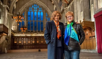 "Rachel Weisz with Deborah Lipstadt on the set of ""Denial"""