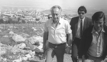 Then-prime minister Shimon Peres in settlement of Ma'ale Efraim, West Bank. 1985