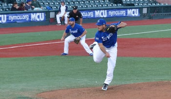 Jason Marquis pitching for Israel during the World Baseball Classic qualifiers, September 2016.