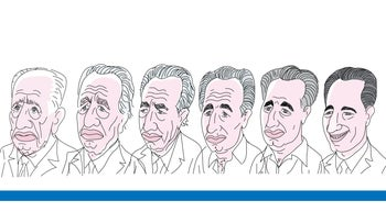 An illustration of Shimon Peres across the years.