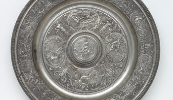 François Briot, dish, Pewter with cast reliefs, France, ca. 1585, bought by London's Victoria and Albert Museum from the Bernal collection in 1855.