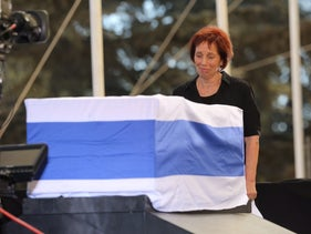 Tsvia Walden at funeral for her father Shimon Peres. September 30, 2016.