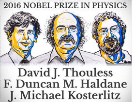 A screenshot of an image tweeted by the Nobel Prize Institute announcing the winners of the 2016 Nobel Prize in Physics on October 4, 2016.
