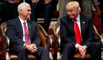 U.S. Republican presidential nominee Donald Trump and vice presidential nominee Governor Mike Pence attend a gathering of pastors in Cleveland Heights, Ohio, U.S. September 21, 2016.