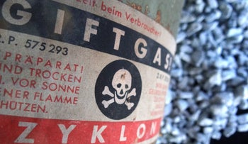An image of Zyklon B gas canister and crystals at Majdanek concentration camp in Lublin, Poland.