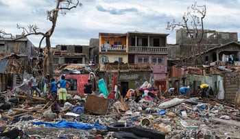A picture taken by the UN Mission in Haiti shows the aftermath of Hurricane Matthew in the town of Jeremie, Haiti, October 6, 2016.