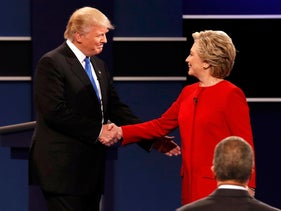 Donald Trump and Hillary Clinton shake hands before the first presidential debate at Hofstra, September 26, 2016.