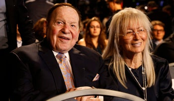 Sheldon and Miriam Adelson at the first presidential debate at Hofstra University, September 26, 2016.