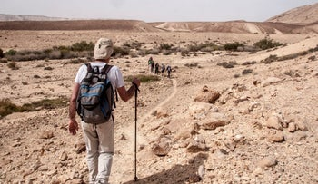 Hikers traversing the Negev desert on the Israel National Trail.