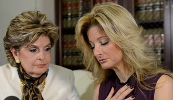 Summer Zervos, a former contestant on The Apprentice, with lawyer Gloria Allred speaks about allegations of sexual misconduct against Donald Trump, Los Angeles, California, U.S. October 14, 2016.