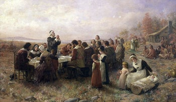 """The First Thanksgiving at Plymouth,"" oil on canvas by Jennie Augusta Brownscombe (1914)."