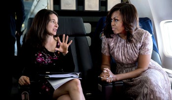 Speechwriter Sarah Hurwitz with Michelle Obama on a flight from Joint Base Andrews, in Maryland, to Santa Fe, N.M., where the first lady delivered a commencement address recently.