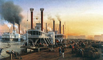 """New Orleans, on the banks of the Mississippi, became a trading hub for the South: A painting of Mississippi River steamboats at New Orleans, 1853; the painting shows steamboats """"Gipsy"""", """"Grand Turk"""", and others at the Sugar Levee. Painted by Hippolyte Sebron (1801-1879)."""