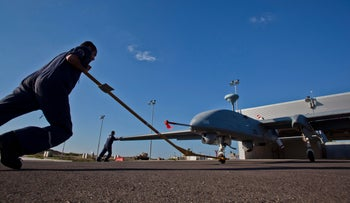 An unmanned drone at Israel's Palmahim air base.