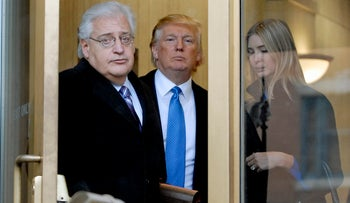 Billionaire real estate developer Donald J. Trump, center, his daughter Ivanka Trump, right, and attorney David Friedman exit U.S. Bankruptcy Court in Camden, New Jersey, U.S., on Thursday, Feb. 25, 2010.