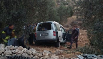 The scene of the accident on Route 60 in the West Bank, October 26, 2016.