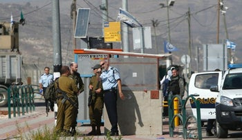 IDF soldiers at the Tapuah junction following the shooting of a Palestinian woman, on October 20, 2016.
