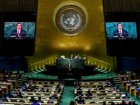 Cuban Foreign Minister Bruno Rodriguez Parrilla addresses the United Nations General Assembly in Manhattan, New York, U.S., September 22, 2016.