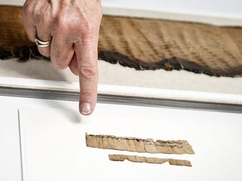 Piece of papyrus dating to the First Temple era, the time of the Kingdom of Judah, as presented by the IAA. The papyrus contains the earliest ex-biblical mention of Jerusalem.