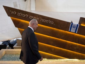 """Benjamin Netanyahu at the dedication of the new Altalena monument in Tel Aviv, reading """"A war of brothers - never,"""" October 27, 2016."""