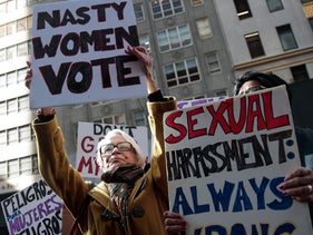 Protesters rally against Republican presidential candidate Donald Trump during a 'Nasty Women Protest' outside of Trump Tower on Fifth Avenue, October 26, 2016 in New York City.