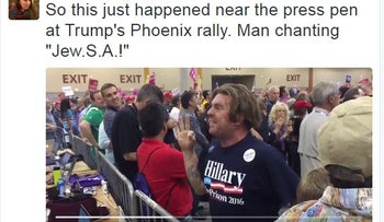 """So this just happened near the press pen at Trump's Phoenix rally. Man chanting """"Jew.S.A.!"""""""