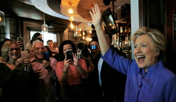 U.S. Democratic presidential nominee Hillary Clinton greets voters at an early voting brunch in Miami, Florida, U.S., October 30, 2016.