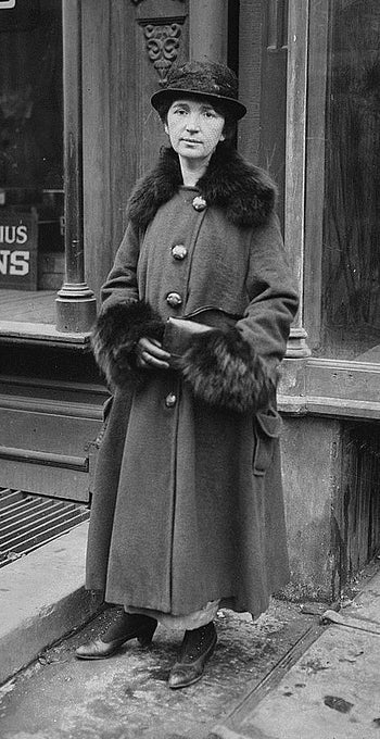 Margaret Sanger during her Brownsville clinic trial at the King's County Court of Special Sessions in New York City, New York, USA, on January 30, 1917.
