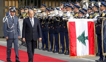 Newly elected Lebanese President Michel Aoun (2nd L), reviews the honour guards upon arrival to the presidential palace in Baabda, near Beirut, October 31, 2016