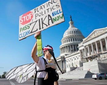 Man wearing a homemade mosquito costume protests the lack of U.S. Congressional approval to fund a federal response to the Zika virus, on Capitol Hill, Washington. Sept. 15, 2016.