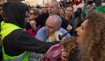 Yizhar Hess, head of the Conservative Movement in Israel, and other protesters clash with security officials, Jerusalem, Israel, November 2, 2016.