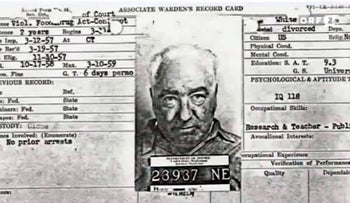 Associate Warden's Record Card for Wilhelm Reich, Lewisburg Federal Penitentiary, March 1957