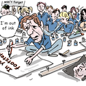 Illustration: Zionist Union hesitantly planning memorial rally for Rabin's assassination.