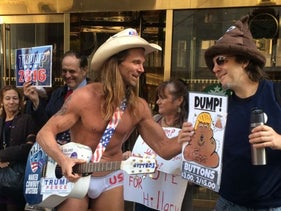 The Naked Cowboy outside Trump Tower in Manhattan, November 2016.