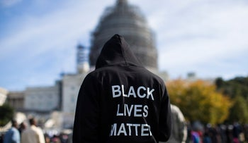 File photo: A man wearing a Black Lives Matter sweatshirt in front of the U.S. Capitol in Washington D.C., October 10, 2015.