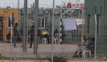 Asylum seekers at the Holot detention facility in the Negev, December 29, 2015.