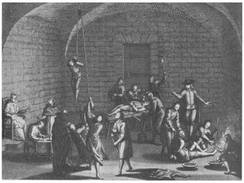 An Inquisition torture chamber, illustration dating to 1716, by Louis-Ellies Dupries.