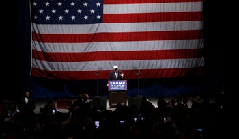Donald Trump addresses a rally in Sterling Heights, Michigan, November 6, 2016.