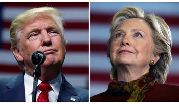 U.S. presidential candidates Donald Trump and Hillary Clinton attend campaign events in Hershey, Pennsylvania, November 4, 2016 (L) and Pittsburgh, Pennsylvania, October 22, 2016 in a combination of file photos.