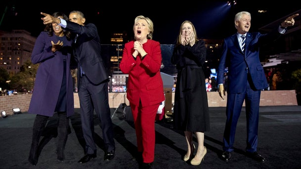 Michelle and Barack Obama, Hillary Clinton, Chelsea Clinton and Bill Clinton at a rally in Philadelphia, PA, November 7, 2016.