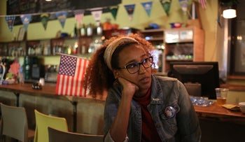 A Democatic Party activist watching the election go south at a hostel in Tel Aviv, November 9, 2016.