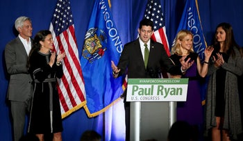 U.S. Speaker of the House Paul Ryan speaks to the crowd during in Janesville, Wisconsin, November 8, 2016.