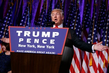 President-elect Donald Trump speaks during an election night rally in New York on November 9, 2016.
