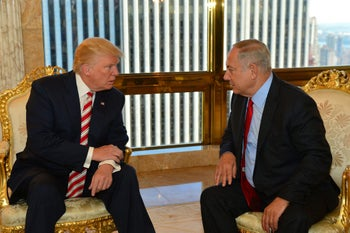 Prime Minister Benjamin Netanyahu speaking with Donald Trump, September 25, 2016.